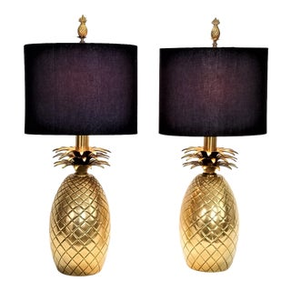 Restored Pair Vintage Solid Brass Pineapple Lamps 1960s- Palm Beach Boho Chic Hollywood Regency Mid Century Modern Tropical Coastal For Sale
