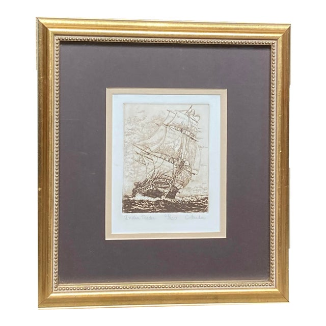 Late 19th Century 'India Trader' Nautical Etching After Charles Martin Hardie, Framed For Sale