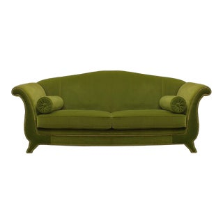 Italian Green Velvet Settee For Sale