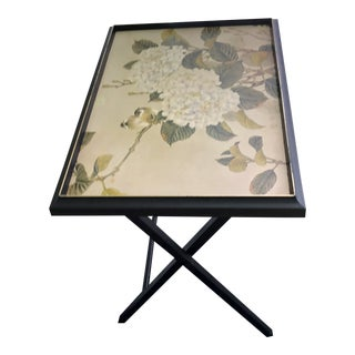 Vintage Asian Modern Wood Artex Birds and Flowers Tray Folding Table For Sale