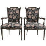 Image of French Open Arm Chairs - A Pair For Sale