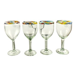 Hand Blown Mexican Multi Color Rimmed Wine Goblets - Set of 4 For Sale
