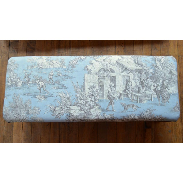Wood Late 19th Century Queen Anne Style Upholstered Long Footstool For Sale - Image 7 of 13
