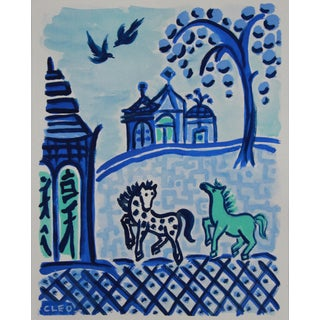Chinese Landscape With Horses Painting by Cleo For Sale