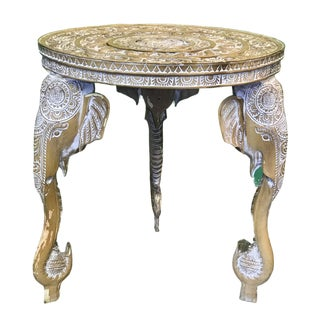 Craved Elephant Side Table For Sale