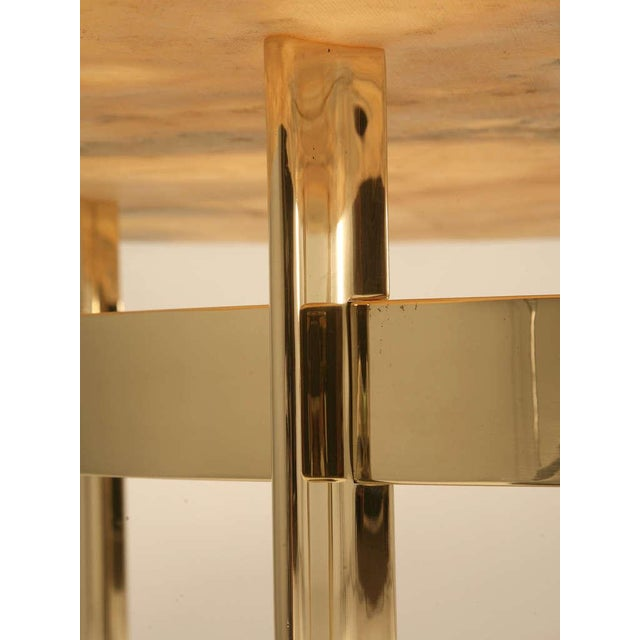 Custom Made Modern Brass & Onyx Dining Table For Sale - Image 4 of 11