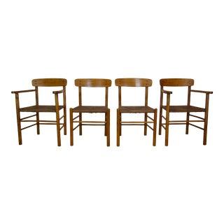 1960's Mid Century Modern Danish Oak Shaker Chairs- Set of 4 For Sale