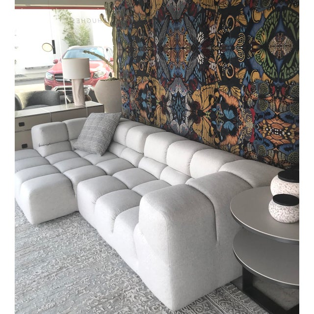 Contemporary B&b Italia Heathered Ivory Wool Blend Upholstered Tufty-Time Sectional For Sale - Image 3 of 6
