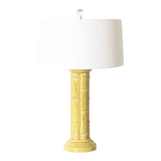 Faux Bamboo Ceramic Lamp, C. 1970 For Sale