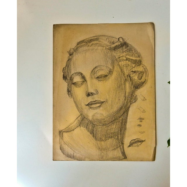 Drawing/Sketching Materials Vintage Modern Female Head Portrait Drawing For Sale - Image 7 of 7