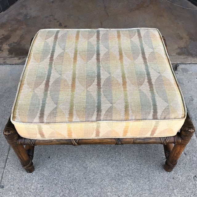 Vintage McGuire Bamboo and Linen Upholstered Lounge Chair & Ottoman - Image 9 of 10