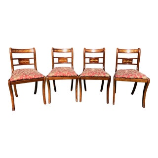 1920s Vintage English Regency Style Brass Inlaid Dining Chairs- Set of 4 For Sale