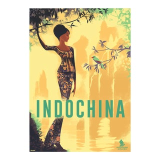 Danish Modern Travel Poster, Indochina For Sale