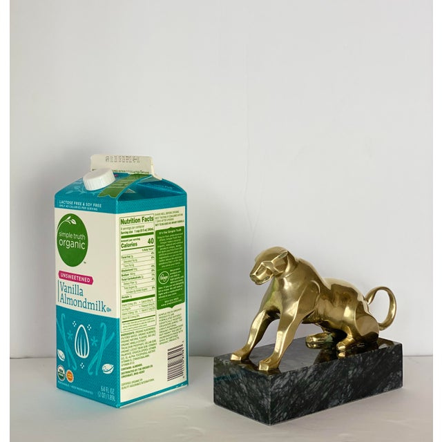 1980s 1980s Vintage Brass and Marble Cheetah Statue Doorstop For Sale - Image 5 of 6
