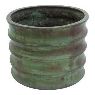1990s Bronze Cast Bamboo Designed Green Patina Planter For Sale