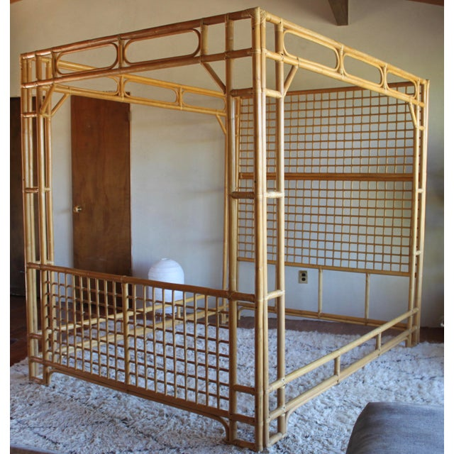 Vintage Queen Rattan and Bamboo Chippendale Chinoiserie Canopy Bed - Image 3 of 11