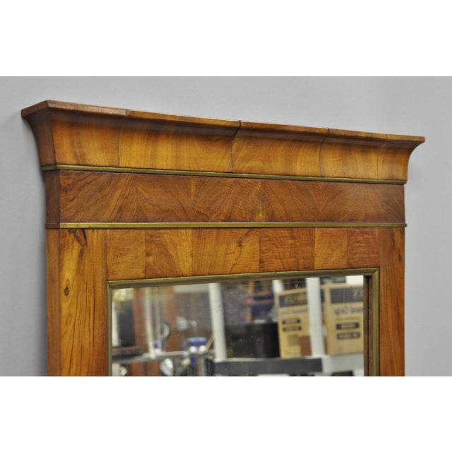 19th Century Vintage American Empire Crotch Mahogany Looking Glass Wall Mirror For Sale - Image 11 of 12