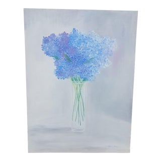 """Contemporary Oil Painting on Canvas, """"Vase of Hydrangeas"""" by Christine Frisbee"""