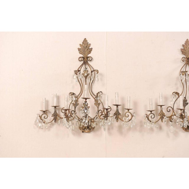Pair of Mid-Century Seven-Light Crystal and Iron Sconces With Leaf Crest Tops For Sale - Image 4 of 11