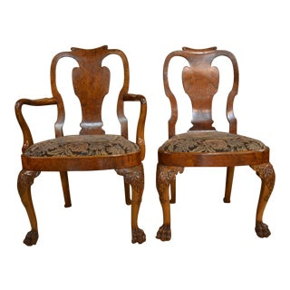 Set of 10 Antique English Queen Anne Burl Walnut Dining Chairs circa 1880