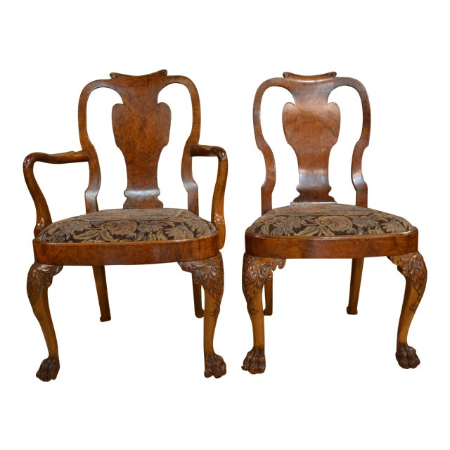 Set of 10 Antique English Queen Anne Burl Walnut Dining Chairs circa 1880 For Sale