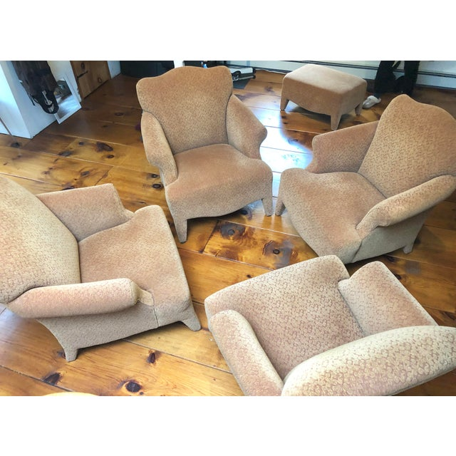 Textile 1990s Vintage John Hutton Style Club Chairs Pair For Sale - Image 7 of 13