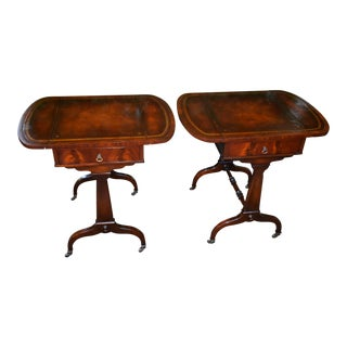 1920s Weiman English Regency Mahogany Leather Top Drop Leaf Side End Tables - a Pair For Sale