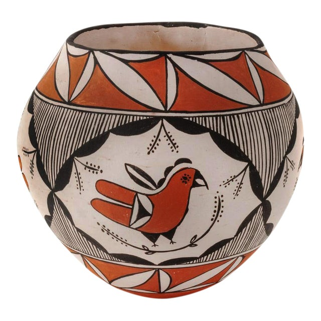 Southwestern Acoma Pueblo Polychrome Olla Parrot Jar For Sale