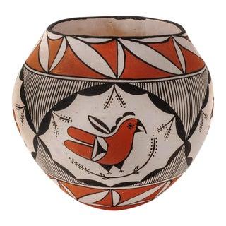 Southwestern Acoma Pueblo Polychrome Olla Parrot Signed Jar For Sale