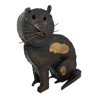 Steel and Gilded Cat by Mexican Artist Manuel Felguérez For Sale
