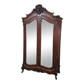 1920's French Mirrored Antique Armoire Tall Louis XV For Sale