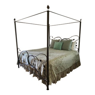 """Stone County Ironworks """"Eden Isle"""" Artisan Crafted Iron Canopy King Bed For Sale"""