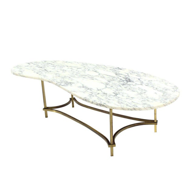 Fine Organic Kidney Shape MarbleTop Brass Base Coffee Table DECASO - Oval shaped marble coffee table
