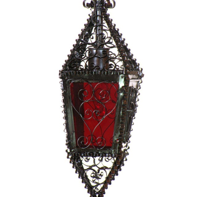Small Moorish Lantern with Red Glass Handmade For Sale - Image 4 of 6