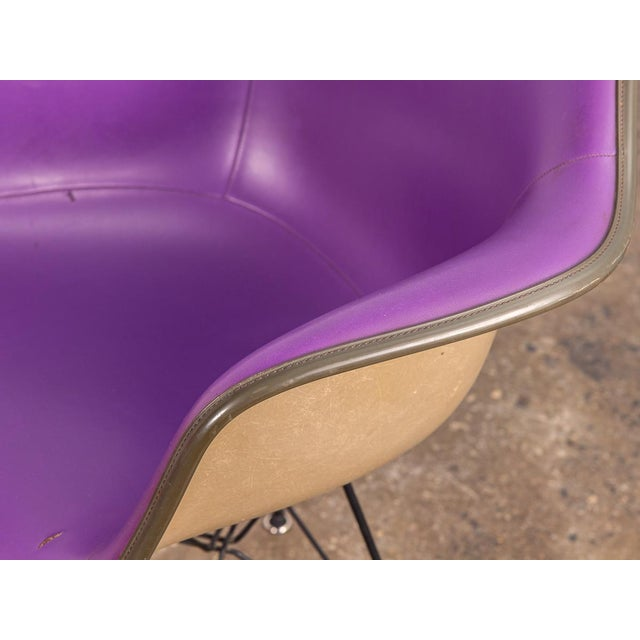 Metal Purple Eames Padded Armshell Chair on Black Eiffel Base for Herman Miller For Sale - Image 7 of 9
