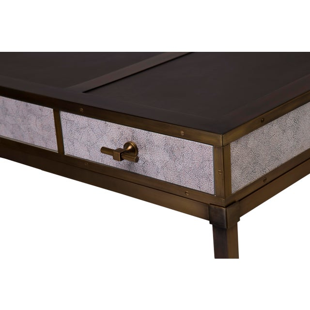 Contemporary Steven Gambrel Collection Gambrel Desk in Eggshell / Burnished Brass For Sale - Image 3 of 4