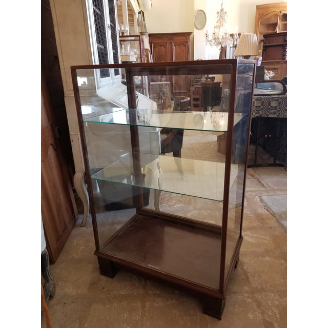 Brown Antique Mahogany Display Case Cabinet For Sale - Image 8 of 9