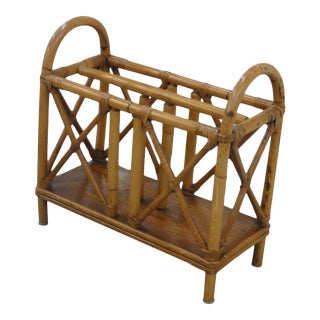1950s Palm Beach Chic Style Bamboo Magazine Rack For Sale