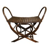 Image of Vintage Dark Brown Wicker Stool For Sale
