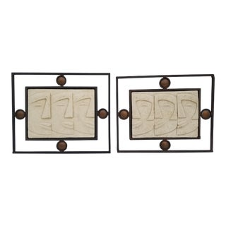 1970s Vintage Hand-Crafted Figural Ceramic Wall Art - 2 Pieces For Sale