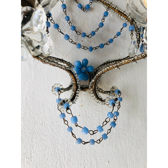 Gold French Lavender Opaline Beads Beaded Sconces, circa 1920 For Sale - Image 8 of 10