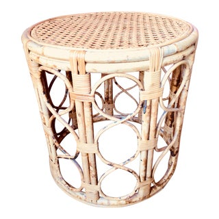 Mid Century Style Rattan and Reed Bamboo and Rattan Side Table For Sale