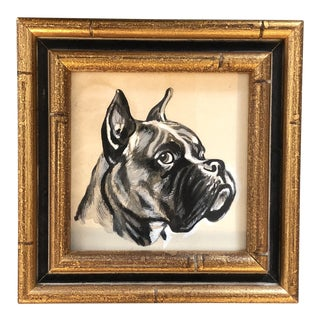 Original Boxer Dog Portrait Illustration Painting Small For Sale