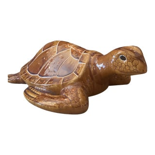 Vintage 1960s Ceramic Loggerhead Turtle Sculpture For Sale