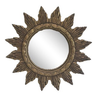 20th Century Boho Chic Gilt Starburst Convex Mirror