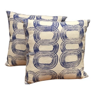 Contemporary Blue Patterned Pillows - a Pair For Sale