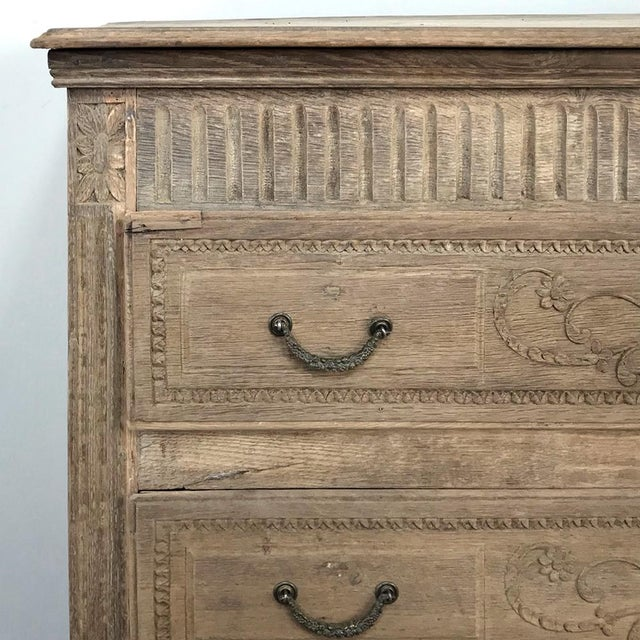 18th Century French Louis XVI Stripped Oak Commode For Sale - Image 11 of 13