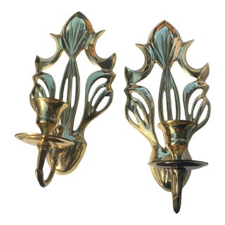1970s Hollywood Regency Brass Wall Sconces- a Pair For Sale