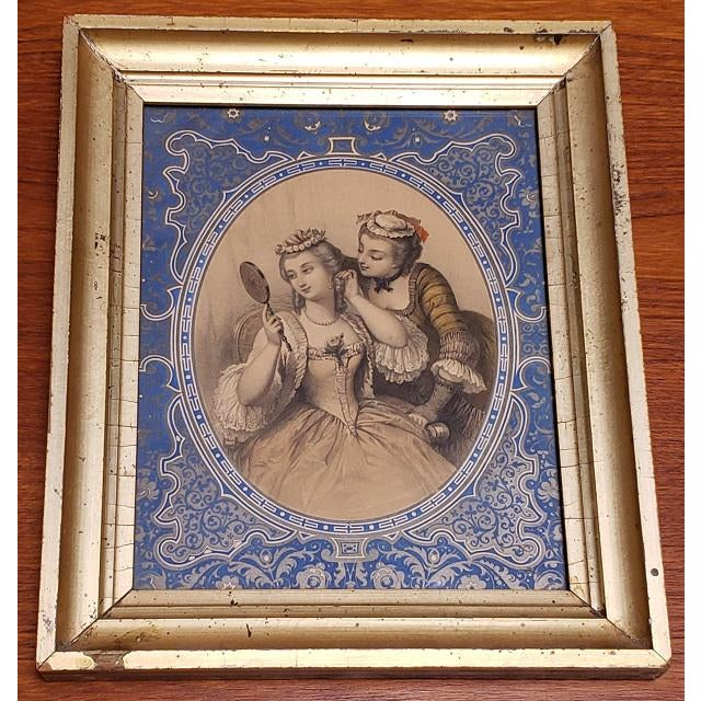"""Pair of Early 19th Century """"Charm"""" Framed Color Lithographs C.1832 For Sale - Image 4 of 8"""