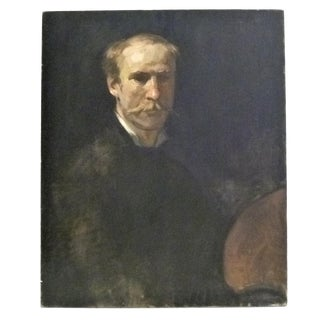 1980s Fine Academic Portrait of a Man Turn of the Century Ancestor For Sale